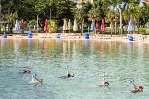 Aqua fitness in the Wave Lagoon - Accommodation Whitsundays